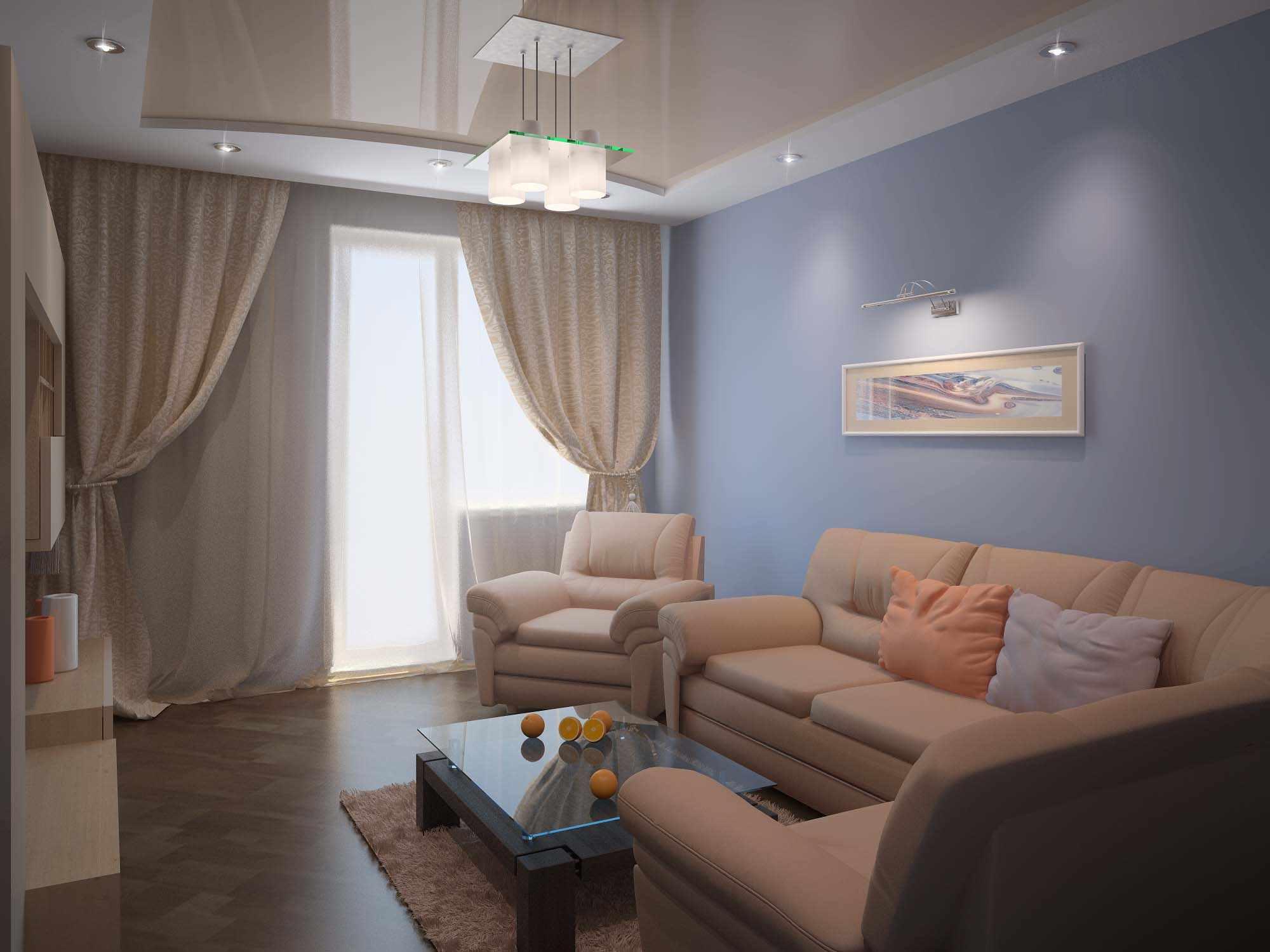 идея необычного интерьера гостиной комнаты 16 кв.м
