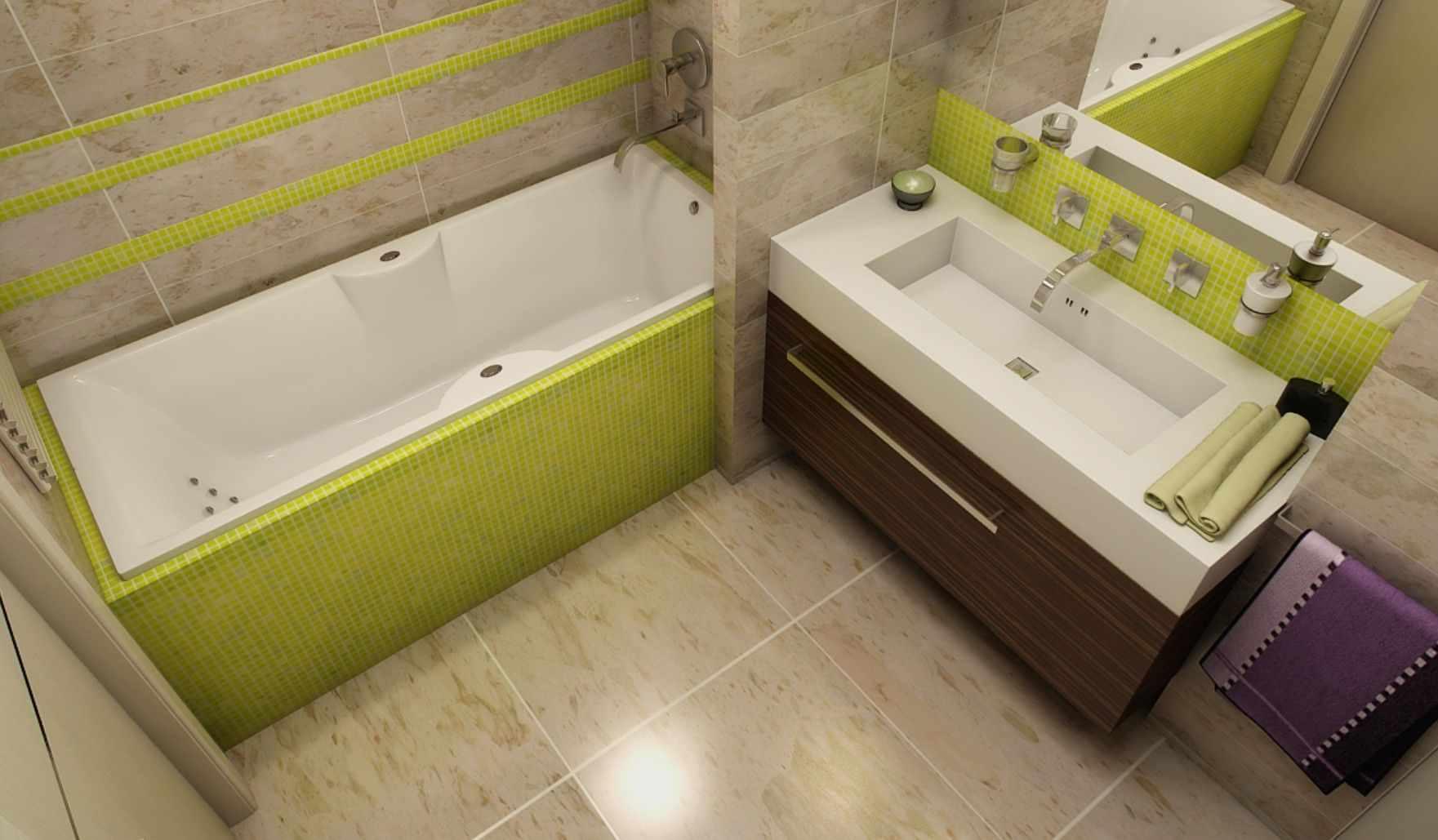 вариант необычного дизайна ванной комнаты с облицовкой плиткой