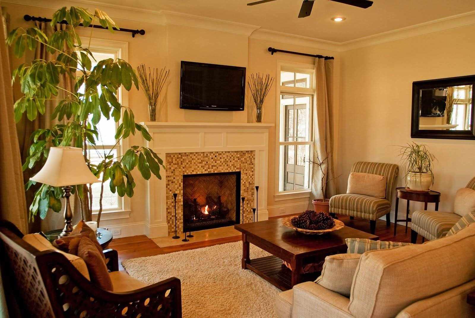 идея применения яркого стиля гостиной комнаты с камином
