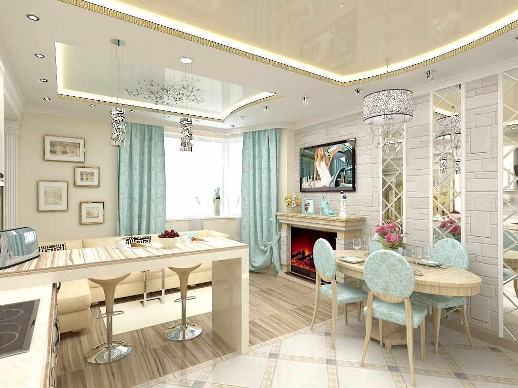 пример применения светлого дизайна гостиной комнаты с камином