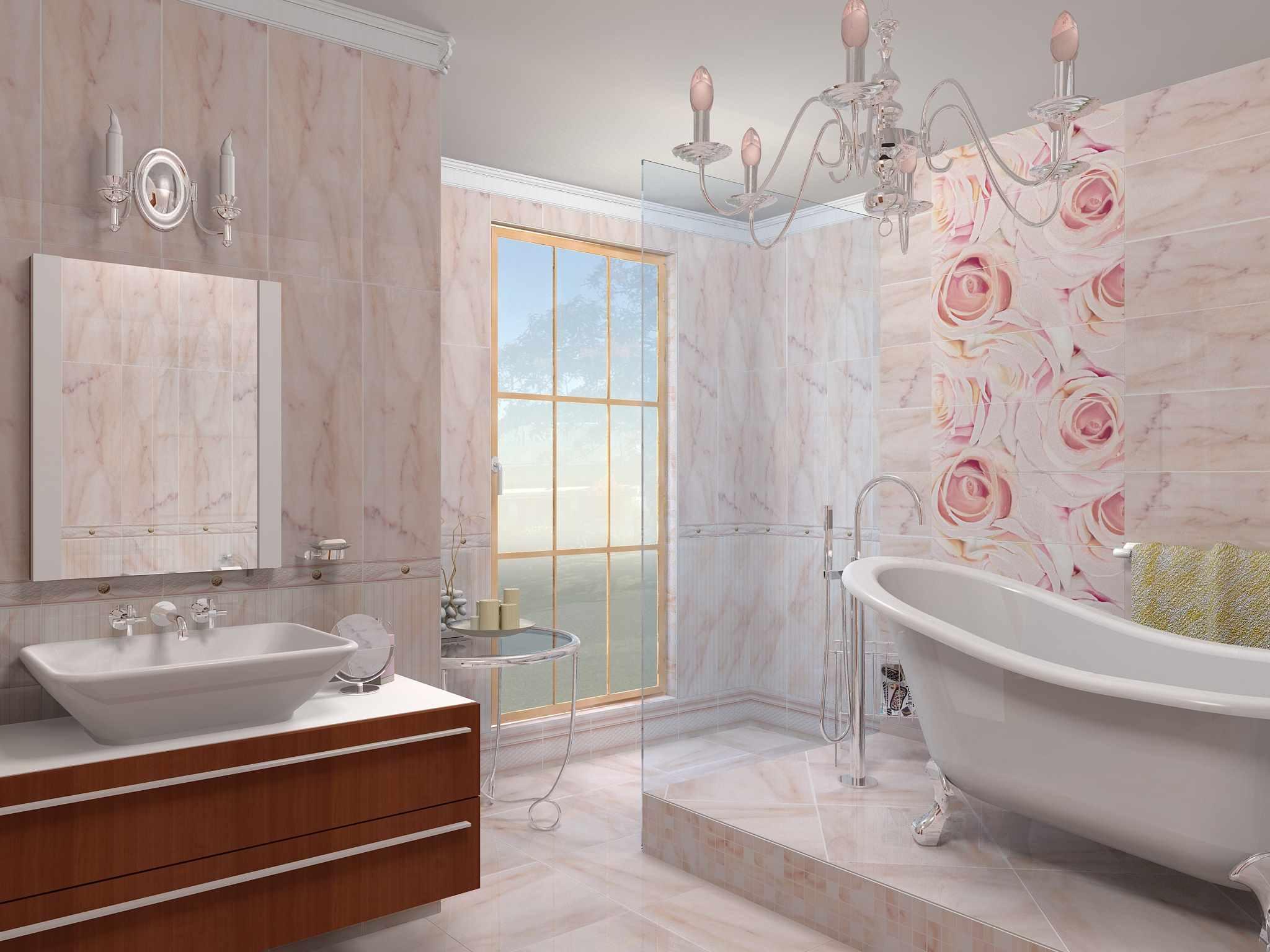 вариант светлого стиля ванной комнаты с облицовкой плиткой