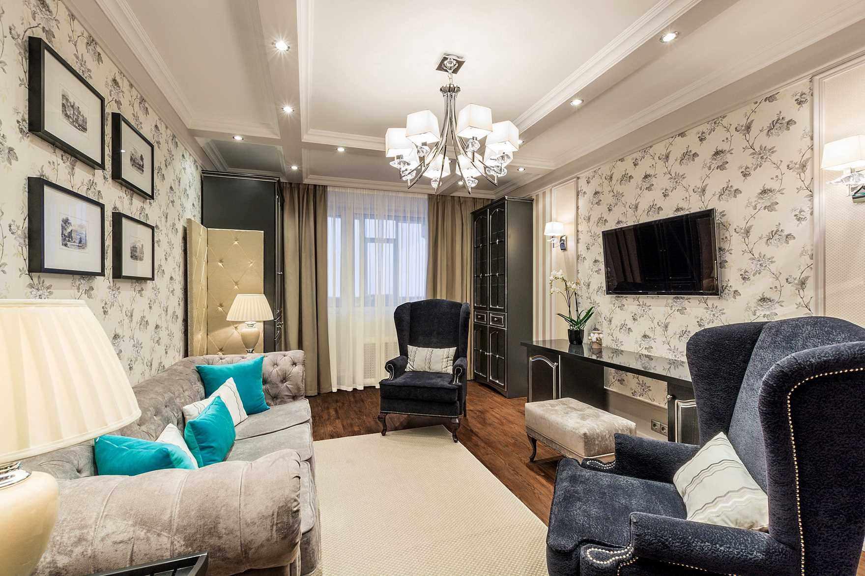 пример яркого дизайна гостиной комнаты 19-20 кв.м