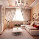 вариант яркого дизайна гостиной комнаты 17 кв.м картинка