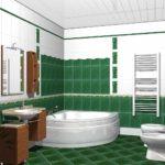 идея светлого дизайна ванной комнаты с угловой ванной фото