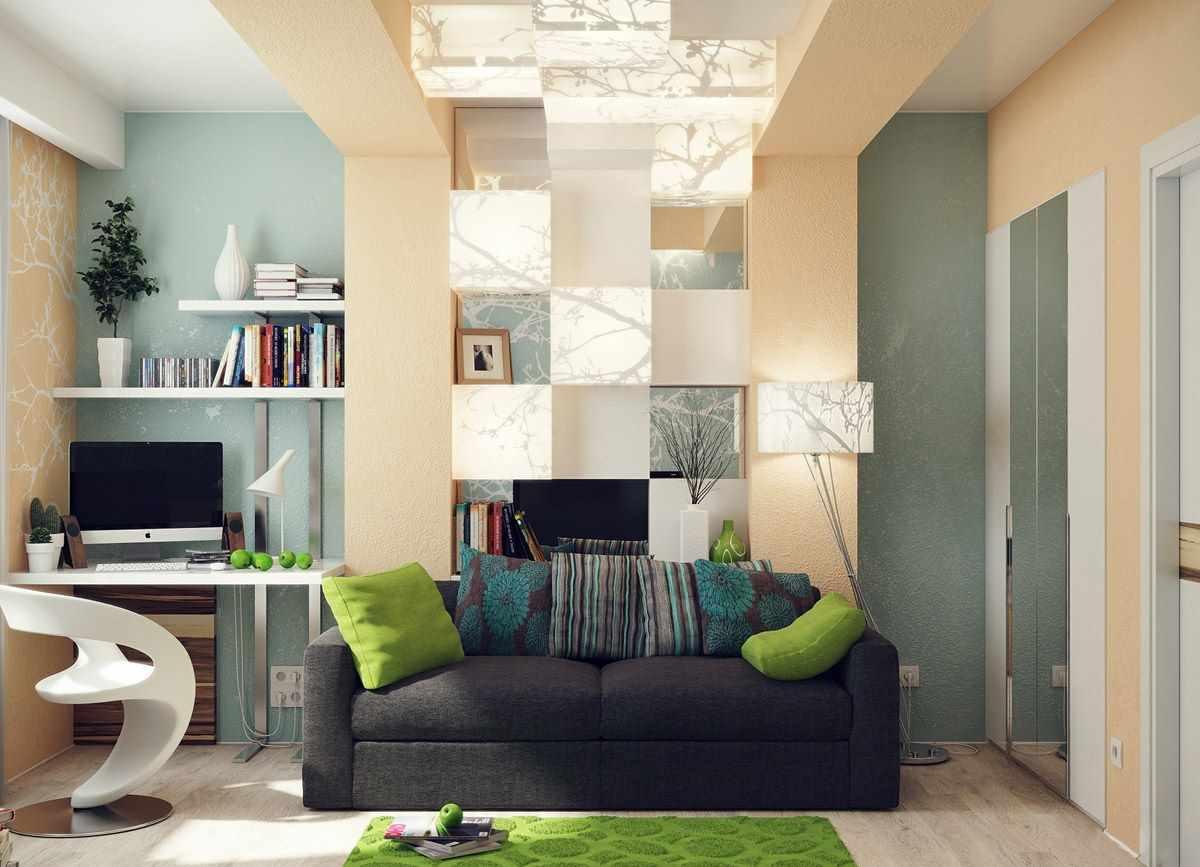 пример яркого декора гостиной комнаты 16 кв.м