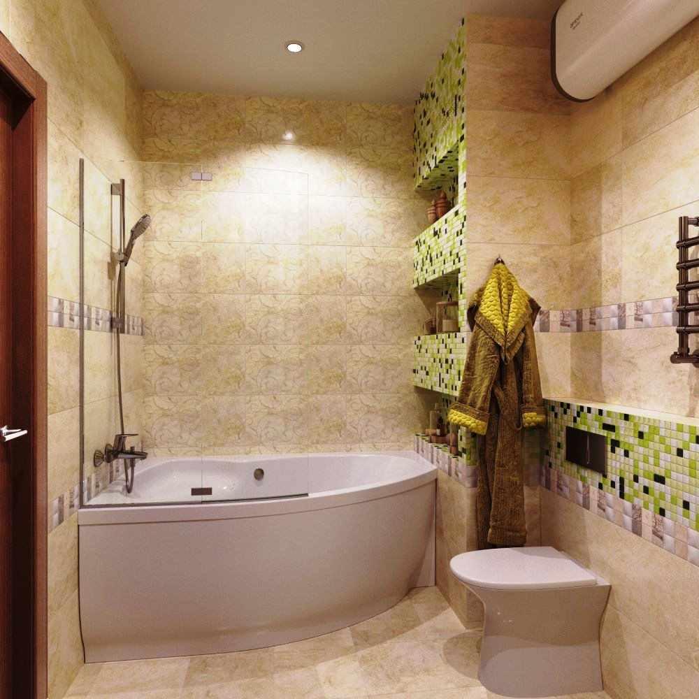 пример необычного интерьера ванной комнаты с угловой ванной