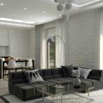 вариант применения красивого интерьера гостиной комнаты в стиле минимализм картинка