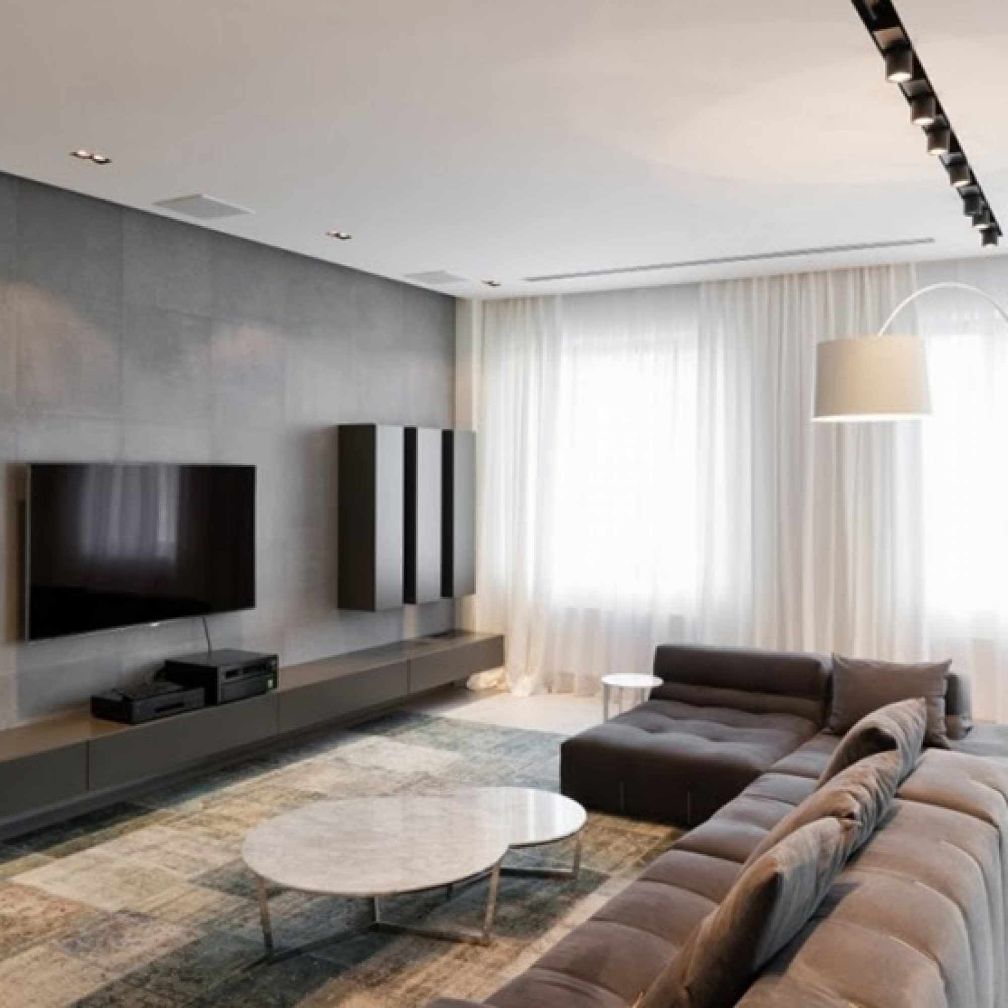идея применения светлого дизайна гостиной комнаты в стиле минимализм