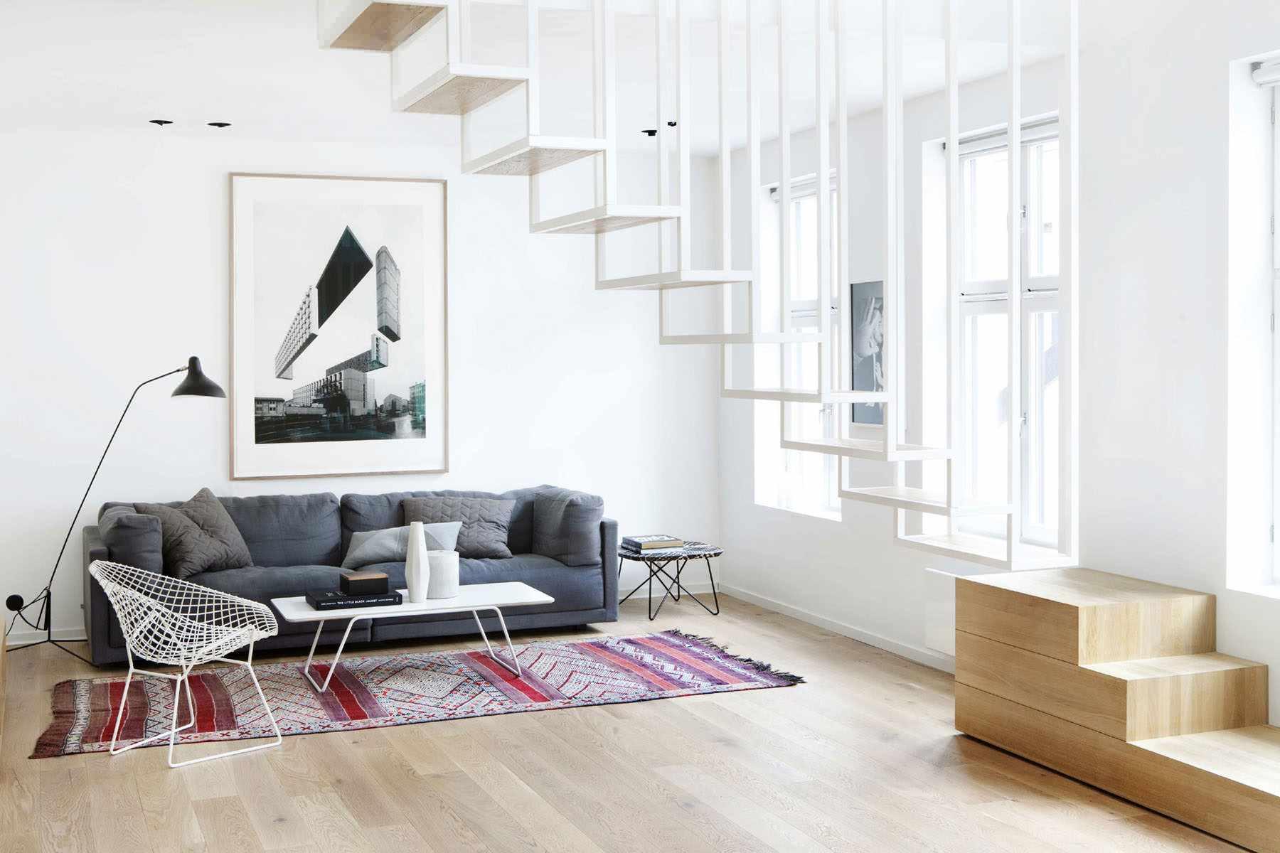 вариант использования красивого интерьера гостиной комнаты в стиле минимализм