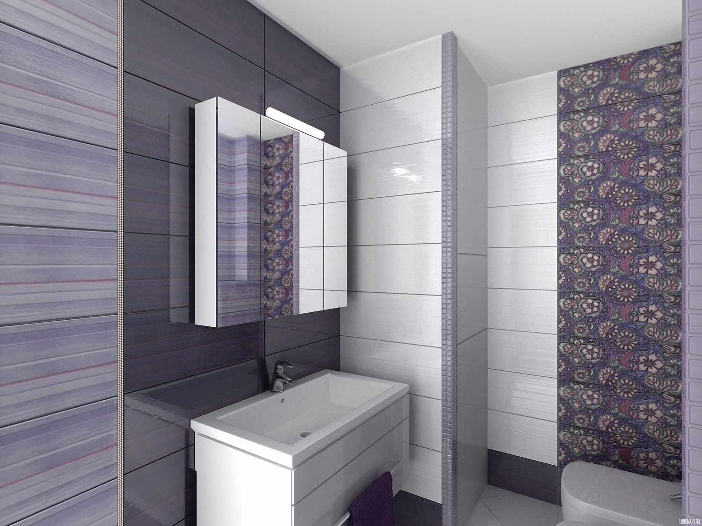 идея яркого стиля ванной комнаты с облицовкой плиткой