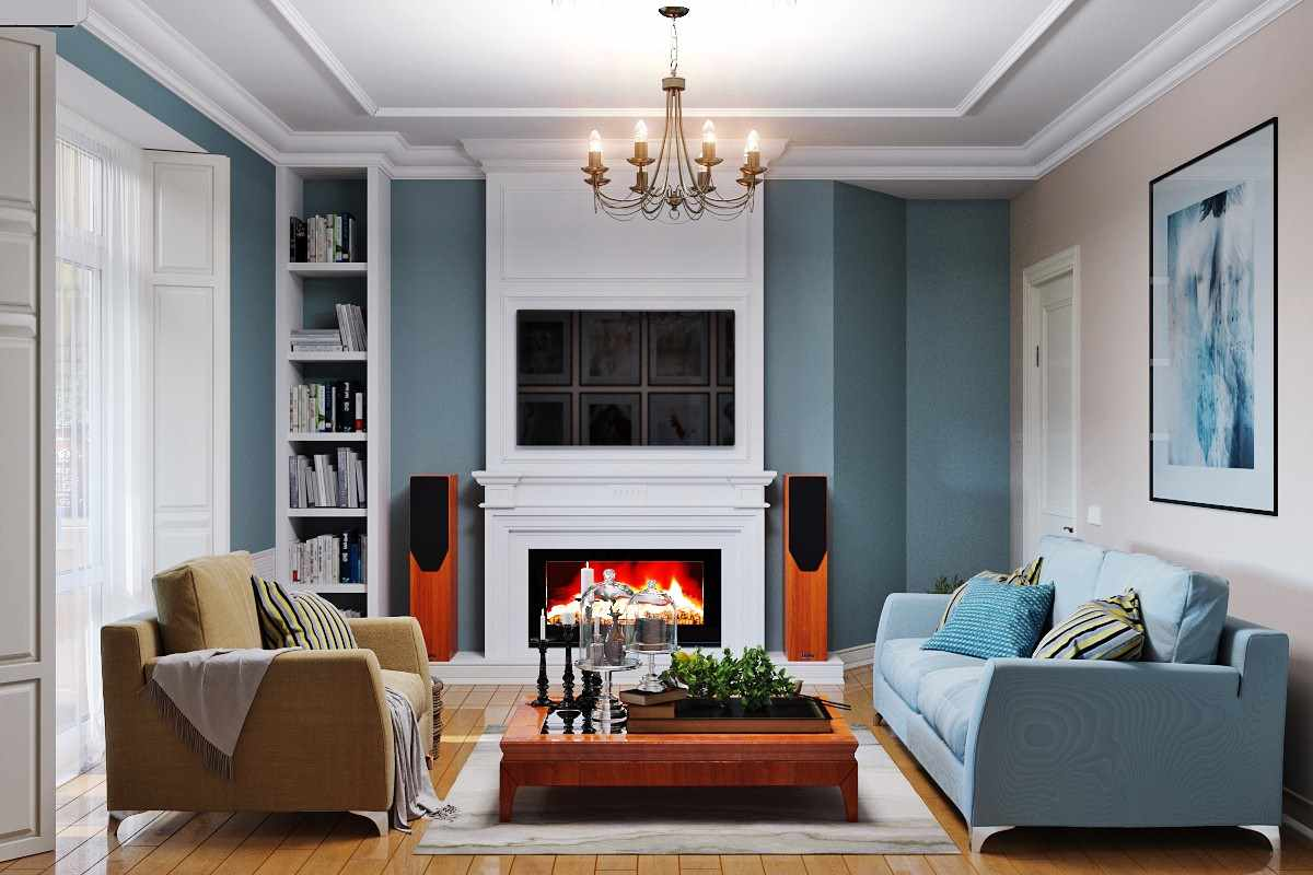 вариант светлого стиля гостиной комнаты 2018