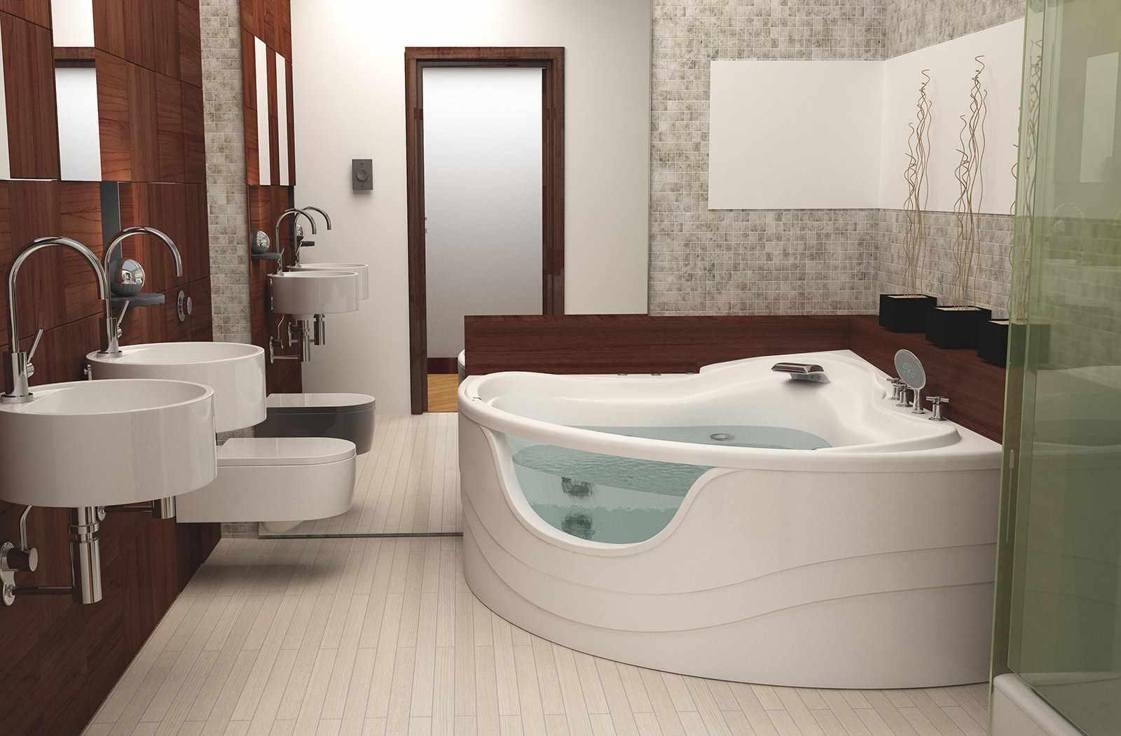 вариант необычного дизайна ванной комнаты с угловой ванной
