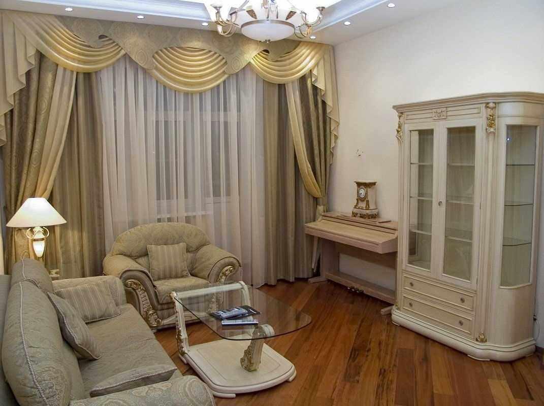 пример необычного дизайна гостиной комнаты 2018