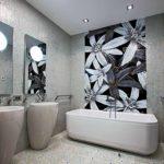 идея красивого декора ванной комнаты с облицовкой плиткой картинка