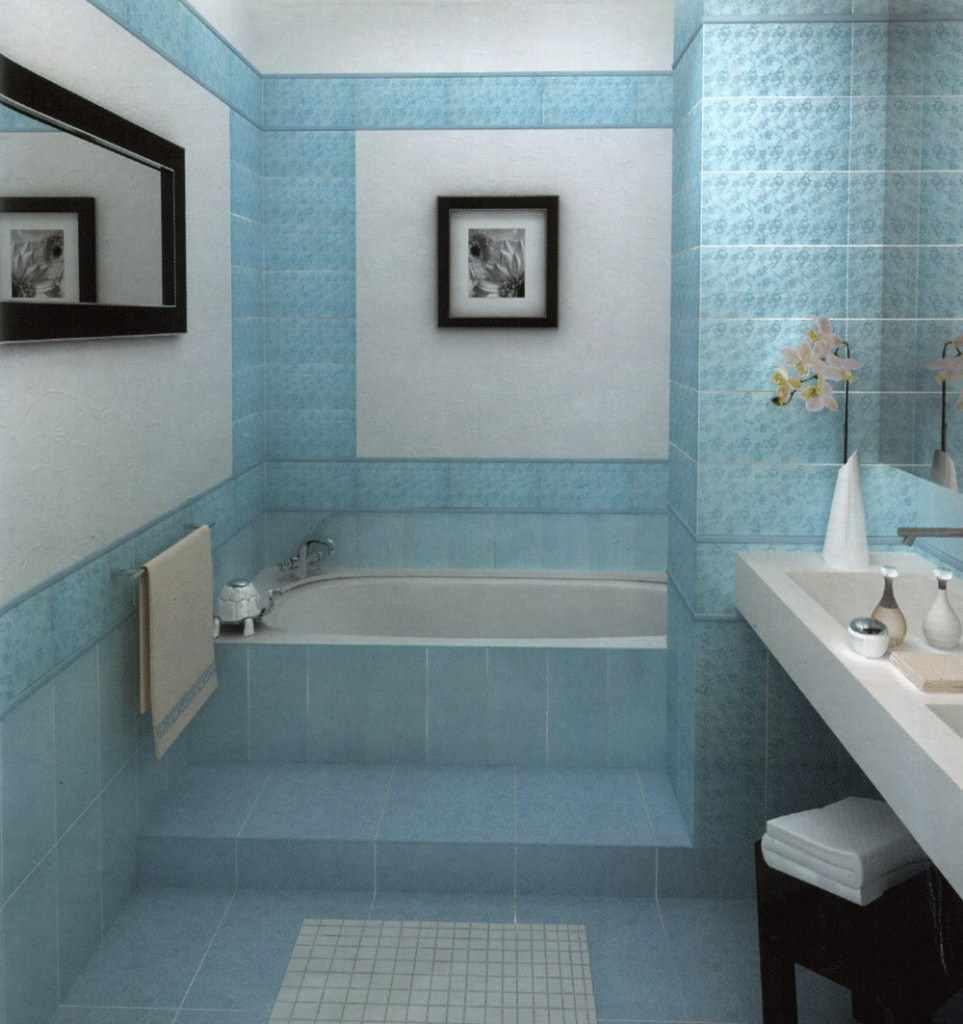 идея необычного декора ванной комнаты с облицовкой плиткой