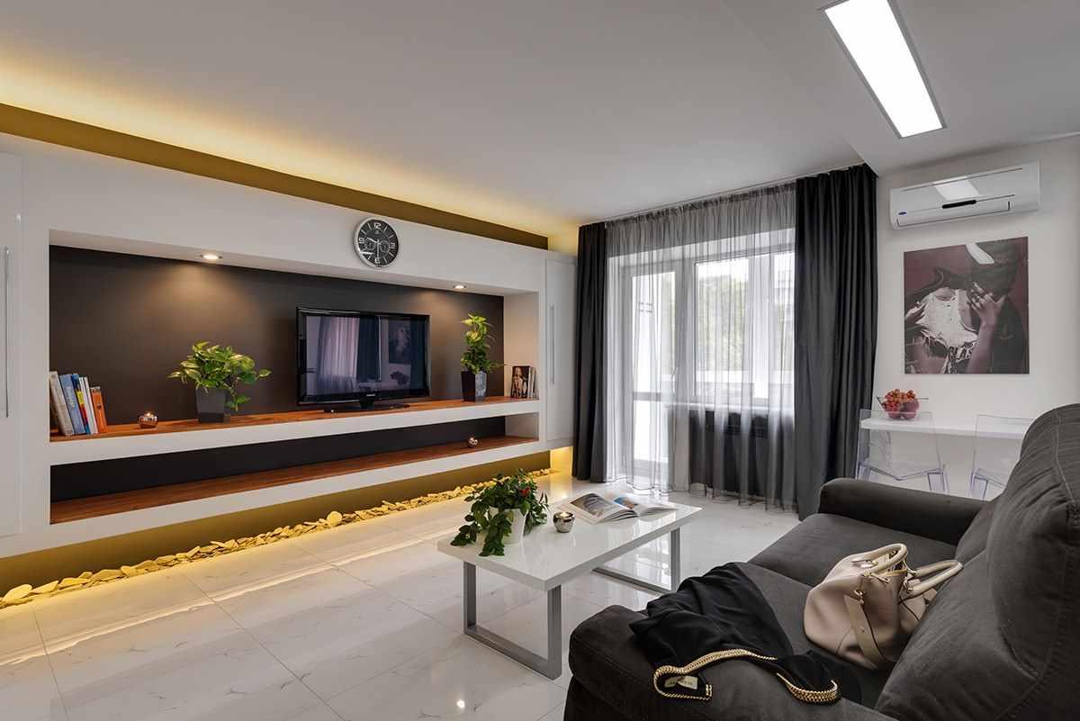 идея светлого дизайна гостиной комнаты 16 кв.м