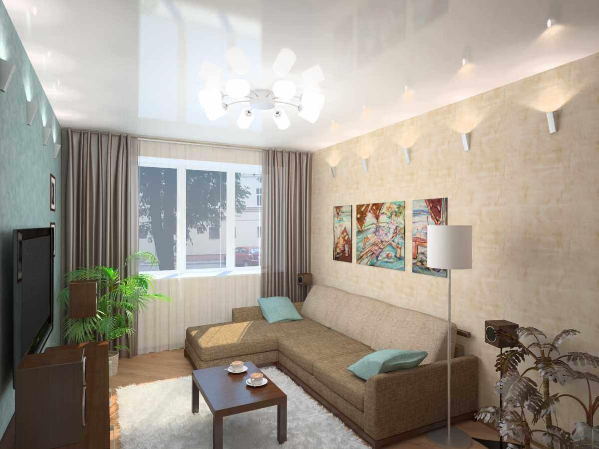 идея яркого декора гостиной комнаты 17 кв.м