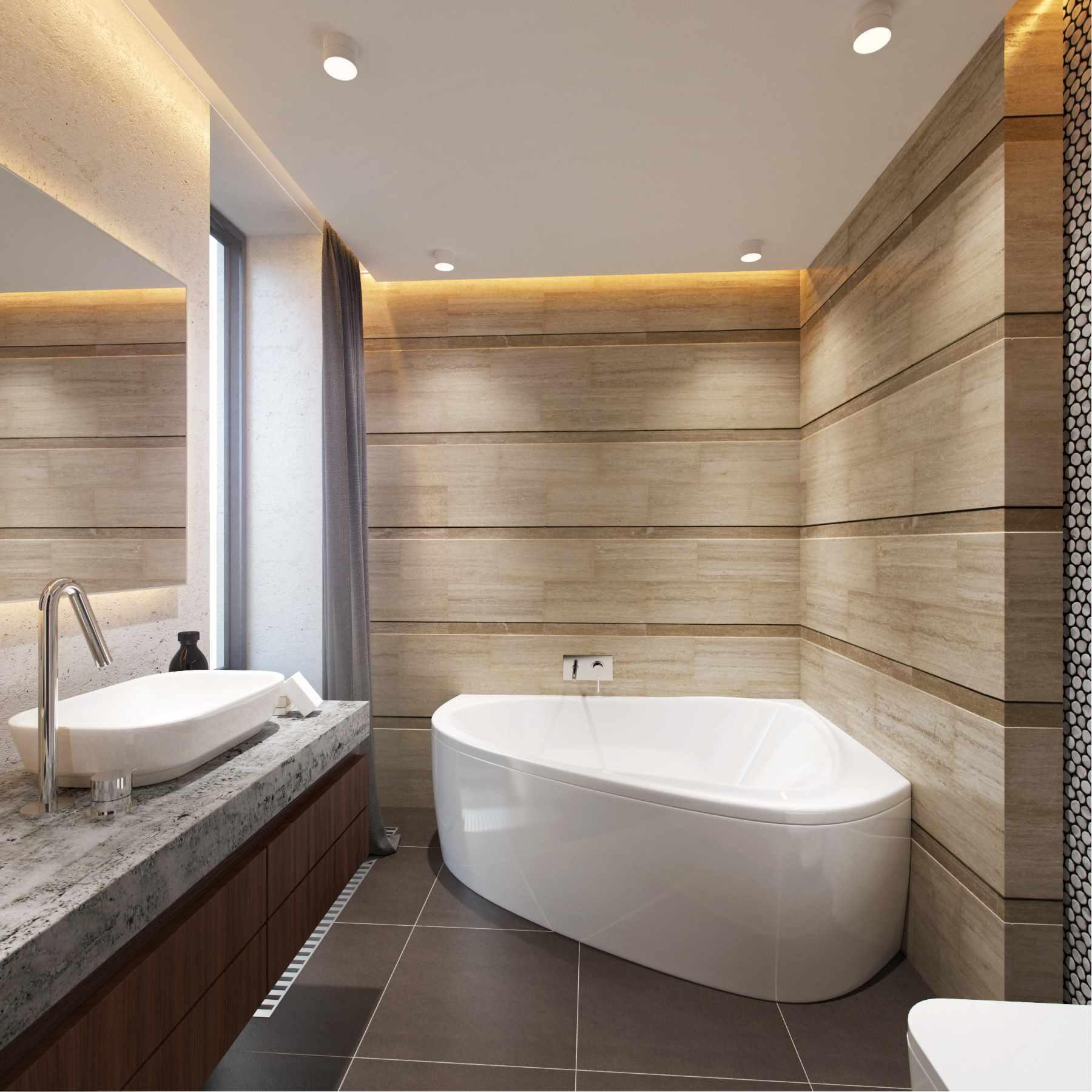 пример светлого дизайна ванной комнаты с угловой ванной