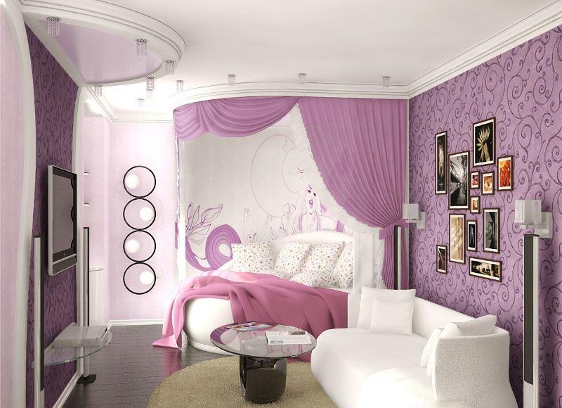 Белый диван гостевой зоне комнаты для девушки