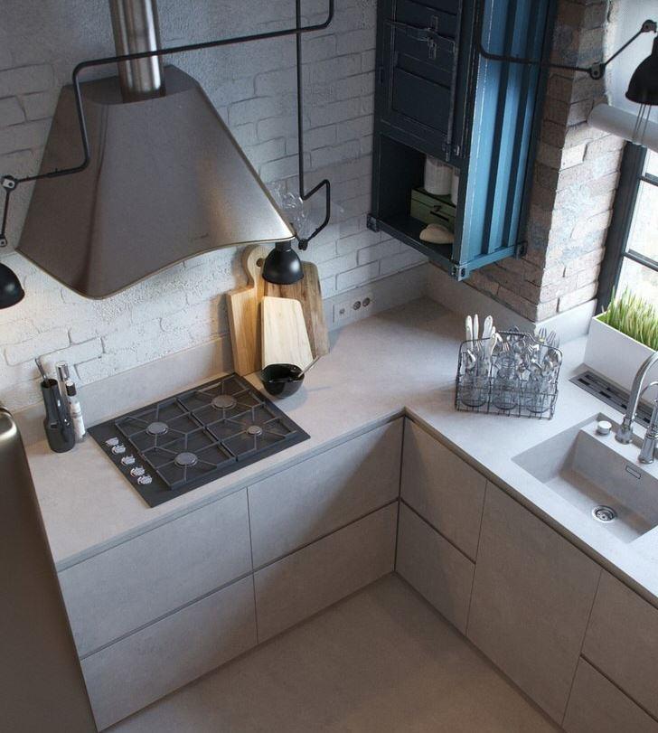 Дизайн современной кухни в промышленном стиле