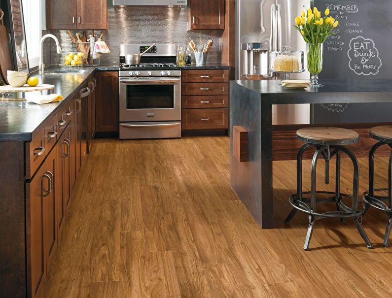 Пол из дерева в дизайне кухни стиля лофт