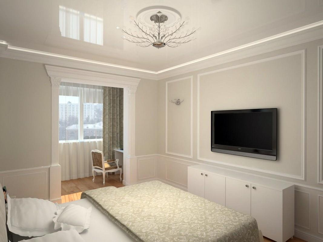 дизайн спальни 11 кв м с натяжным потолком