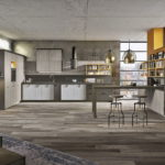 Серый дизайн кухни промышленного стиля
