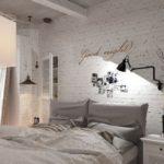 Стена из белого кирпича в интерьере спальни