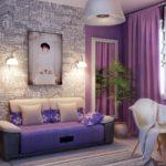 Фиолетовый цвет в дизайне комнаты молодой девушки