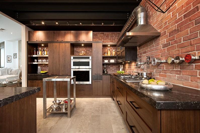 Дерево и кирпич в дизайне кухни промышленного стиля