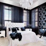 дизайн спальни с темными обоями