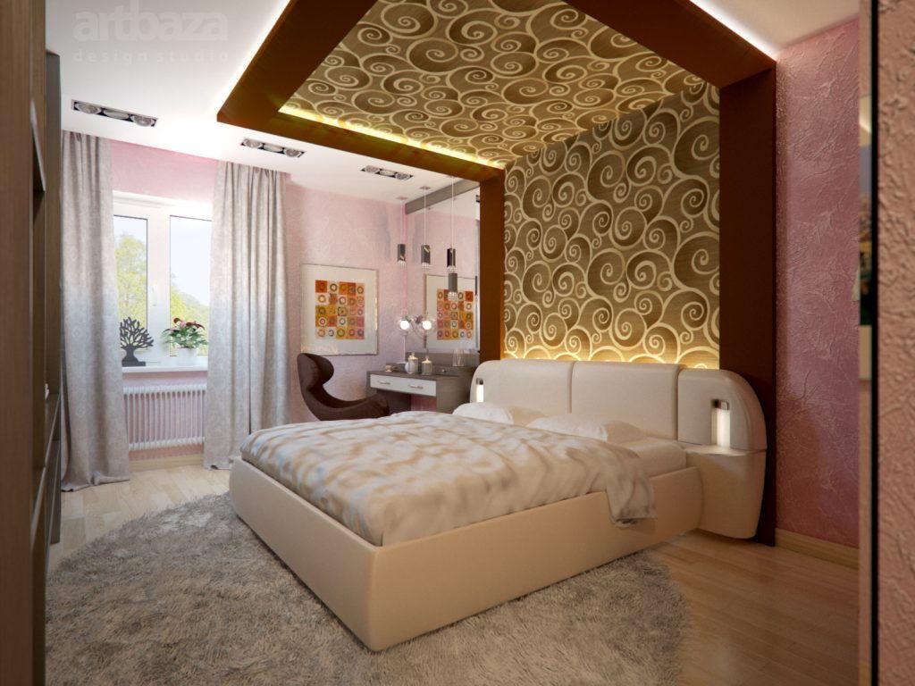 модный дизайн спальни с декором