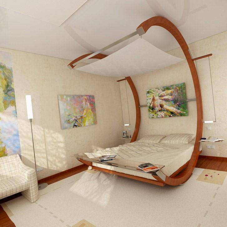 Дизайн спальни девушки с оригинальной кроватью