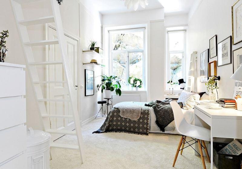 Белая комната для девушки в скандинавском стиле