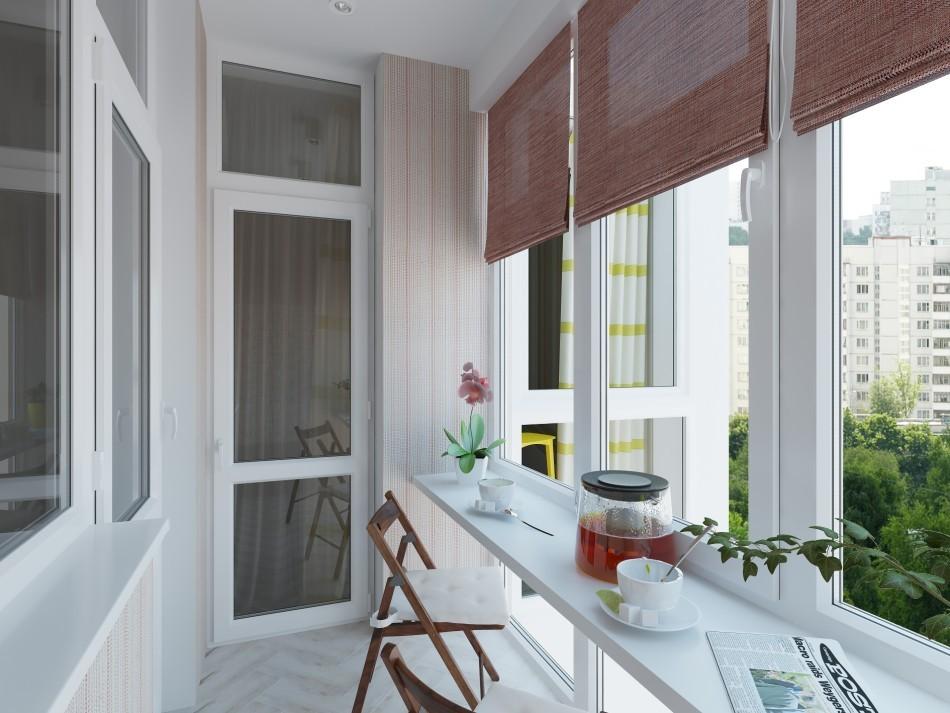 Интерьер балкона в светлых тонах