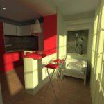 Балкон, присоединенный к кухне с зоной отдыха и барной стойкой