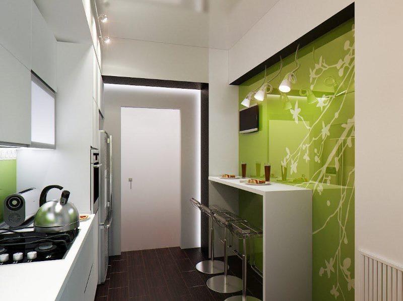 Стильная барная стойка вдоль стены в маленькой кухне