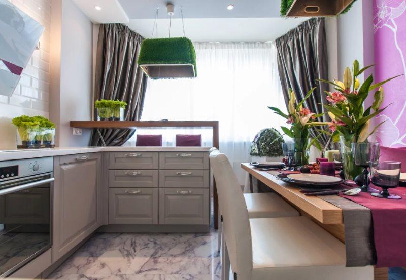 Дизайн кухонного помещения после присоединения лоджии