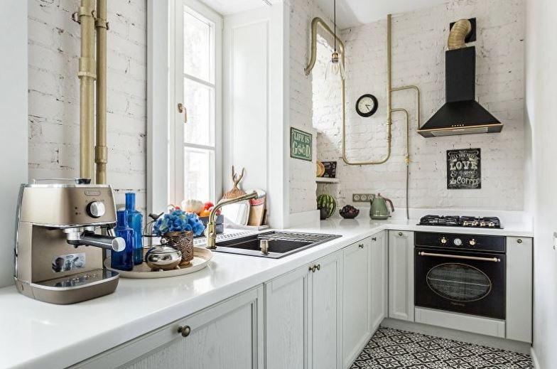 Интерьер белой кухни в индустриальном стиле