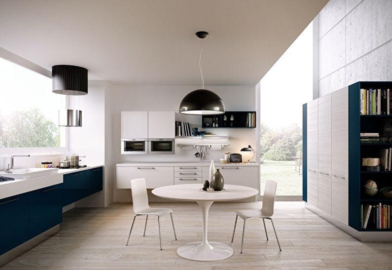 Белая кухня-столовая в стиле современного модерна