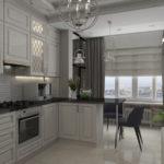 Белая современная кухня, совмещенная с балконом