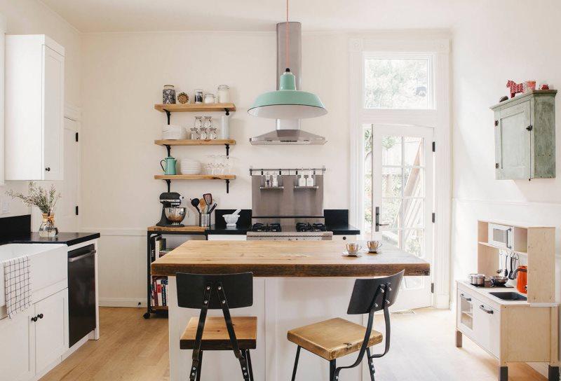 Интерьер кухни площадью в 9 кв м с белыми стенами