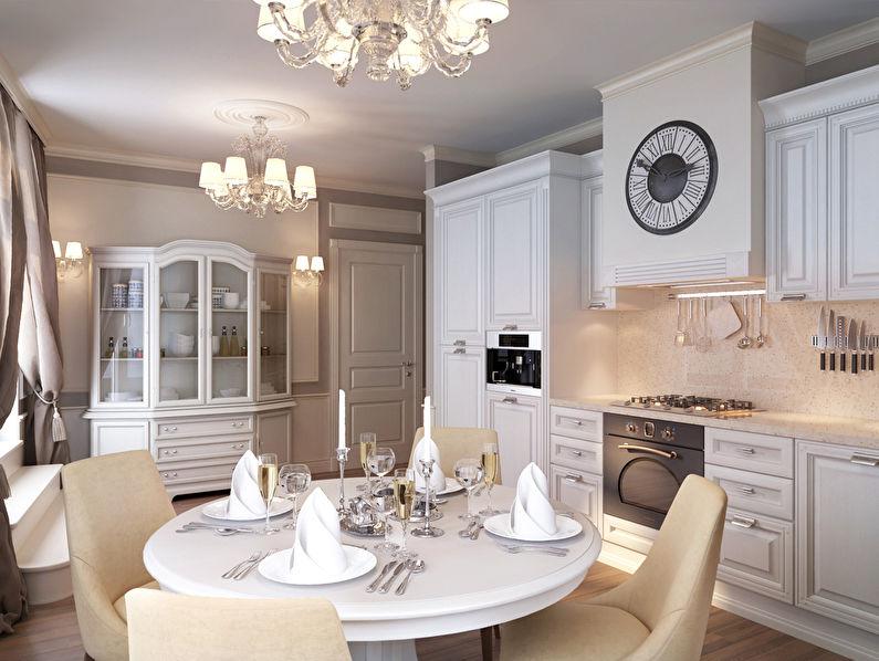 Сочетание бежевого и белого цветов в интерьере кухни