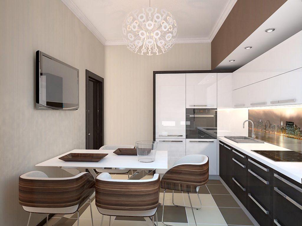Интерьер кухни с бежевыми стенами и коричневыми фасадами мебели