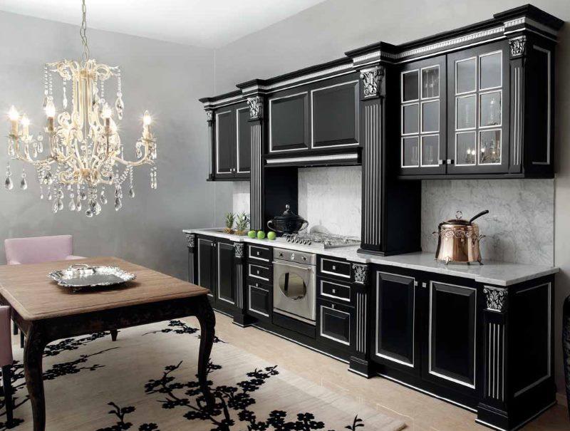 Интерьер классической кухни в темном цвете