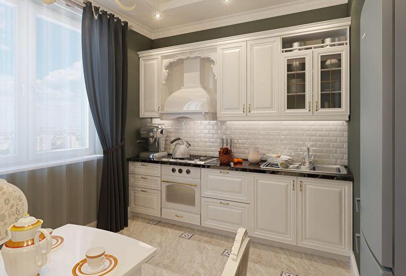 Бежевый кухонный гарнитур в классическом стиле