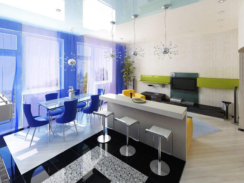 Разделение кухни-студии с помощью цвета