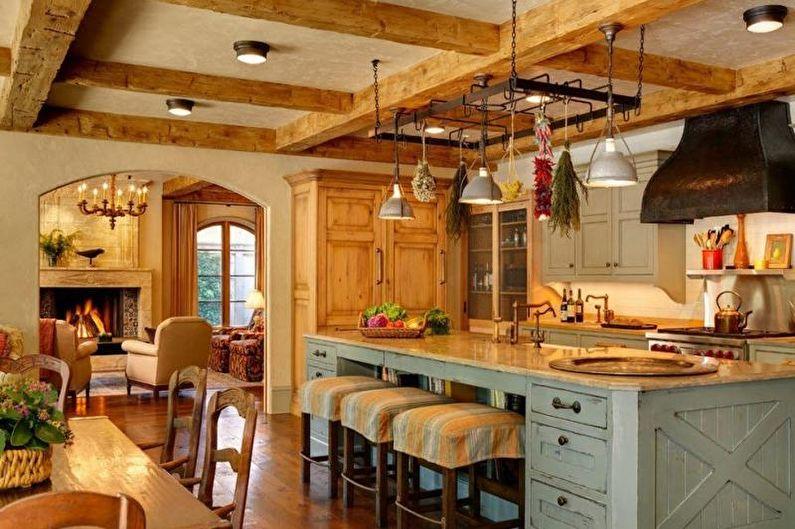 Потолок на кухне в стиле кантри