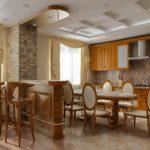 Деревянная кухня с барной стойкой возле колонны