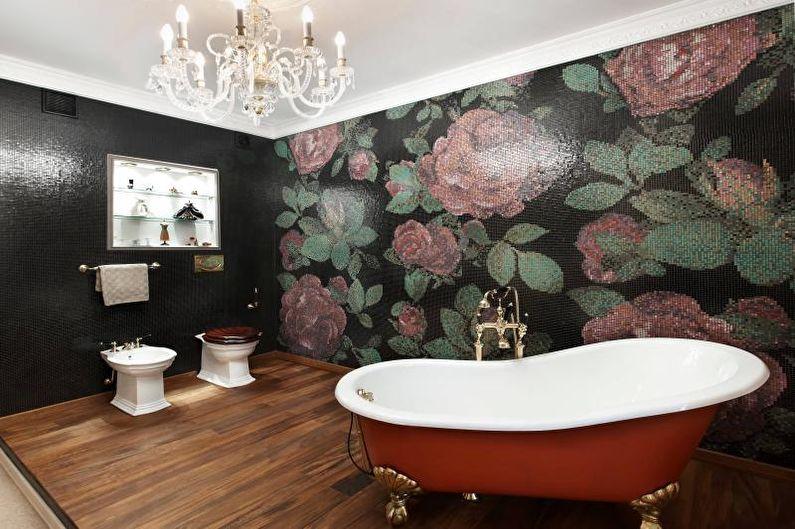 Пол под дерево в дизайне ванной комнаты